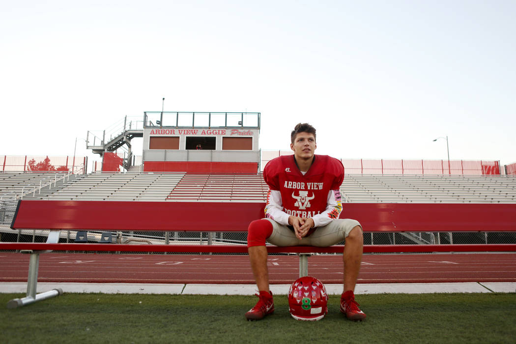 Arbor View's senior Deago Stubbs sits out during practice due to an injured knee at Arbor View High School in Las Vegas, Wednesday, Nov. 15, 2017. Elizabeth Brumley Las Vegas Review-Journal @EliPa ...