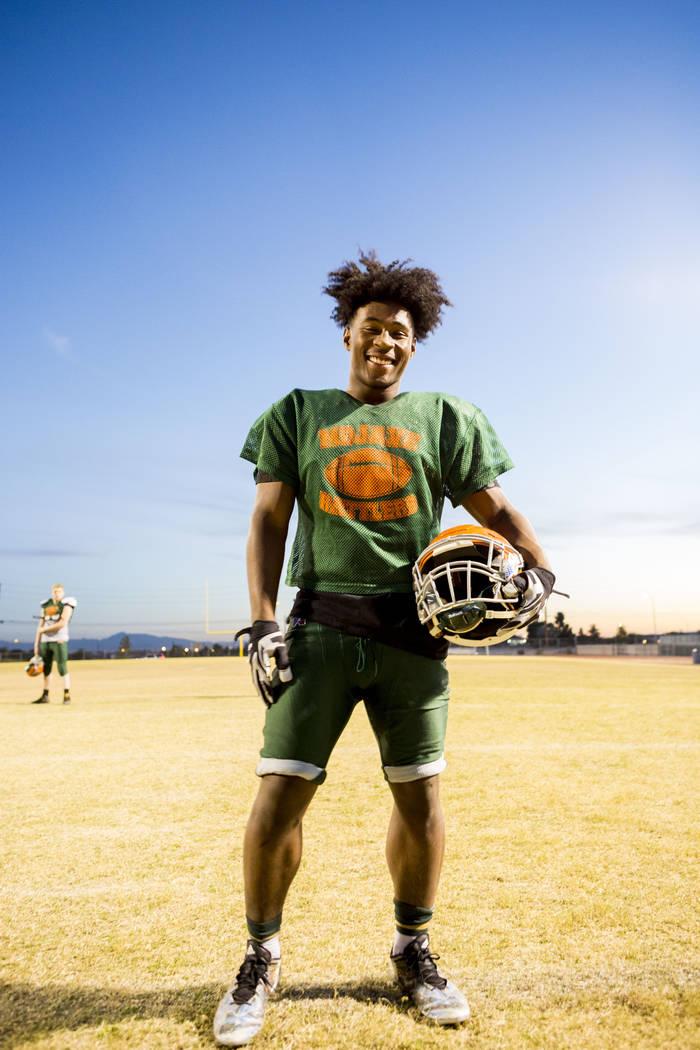 Mojave's running back Tawee Walker, one of the best running backs in Nevada, during practice at Mojave High School in North Las Vegas, Tuesday, Nov. 14, 2017. Elizabeth Brumley Las Vegas Review-Jo ...