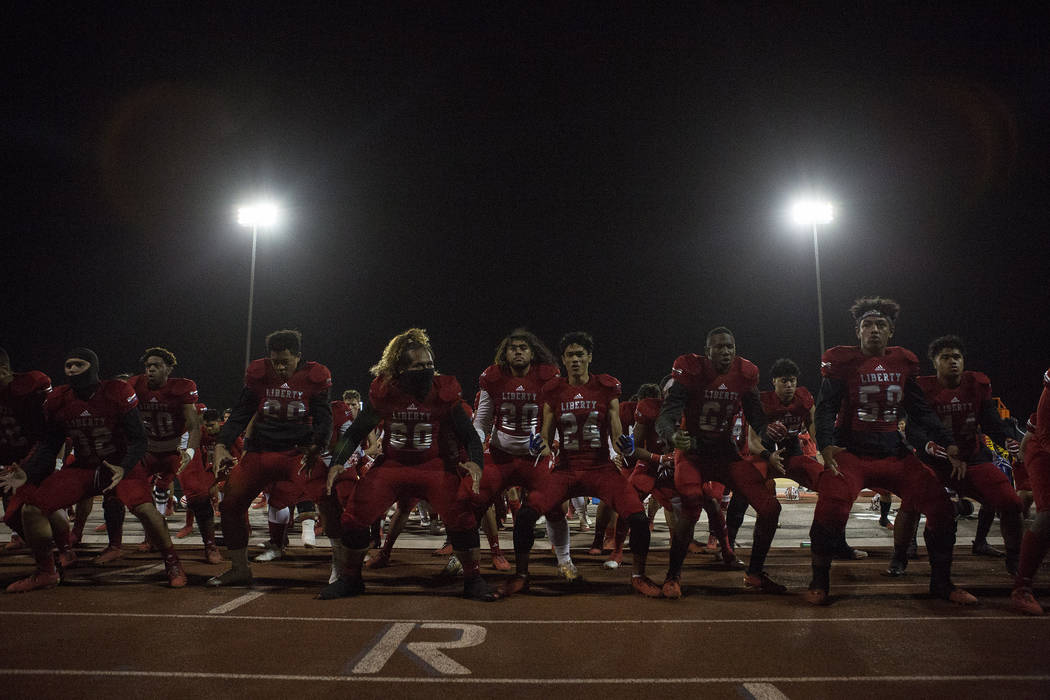 Liberty players perfrom the haka prior to the start of the class 4A Sunrise Region title game against Green Valley at Liberty High School Friday, Nov. 17, 2017, in Henderson. (Bridget Bennett/Las  ...