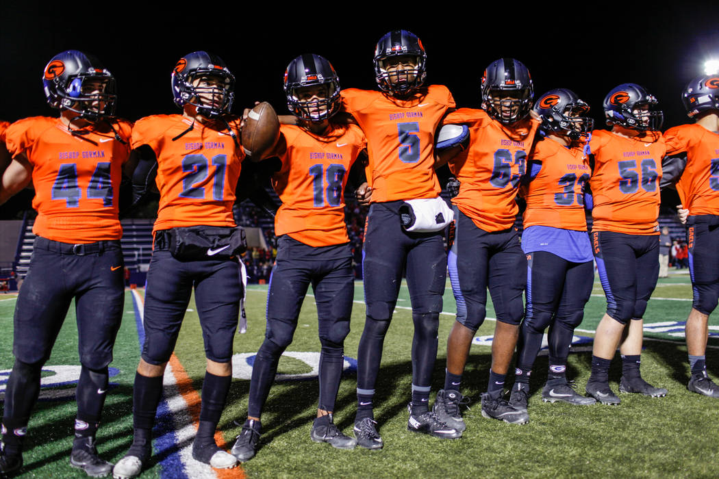 Bishop Gorman lines up on the field after defeating Arbor View 42-7 in the Class 4A Sunset Region Title football game at Bishop Gorman High School in Las Vegas, Friday, Nov. 17, 2017. Joel Angel J ...