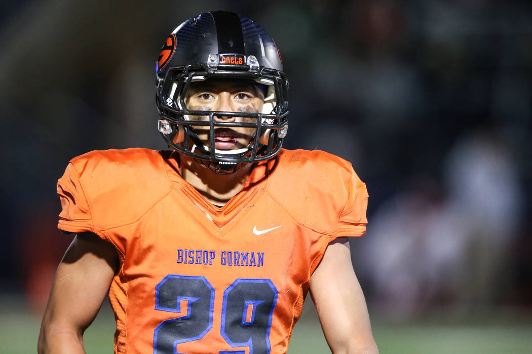 Bishop Gorman's Noah Lopez (29) looks at the sideline during the third quarter of the Class 4A Sunset Region Title football game against Arbor View at Bishop Gorman High School in Las Vegas, Frida ...