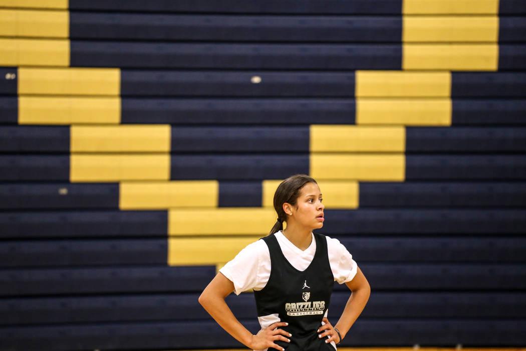 Essence Booker (3) catches her breath during a basketball practice at Spring Valley High School in Las Vegas, Thursday, Nov. 16, 2017. Joel Angel Juarez Las Vegas Review-Journal @jajuarezphoto