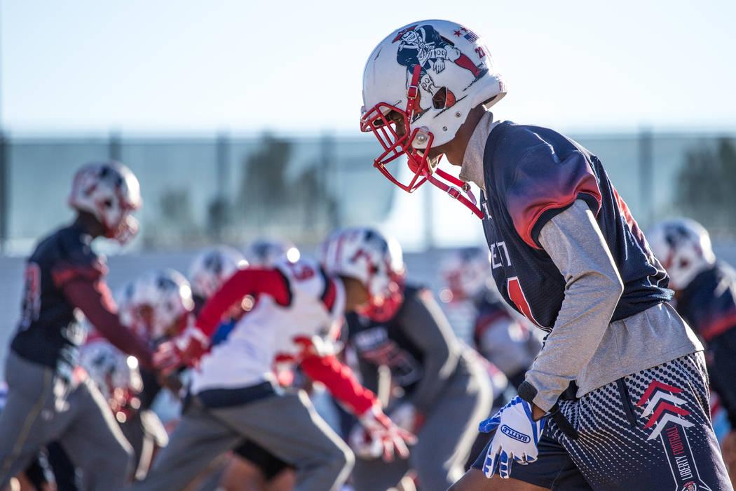 Liberty Patriots' Allan Mwata runs routes during a football practice at Liberty High School in Henderson, Thursday, Nov. 23, 2017. Joel Angel Juarez Las Vegas Review-Journal @jajuarezphoto