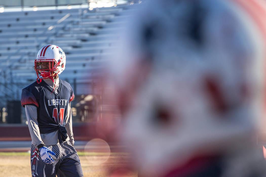 Liberty Patriots' Allan Mwata at a football practice at Liberty High School in Henderson, Thursday, Nov. 23, 2017. Joel Angel Juarez Las Vegas Review-Journal @jajuarezphoto