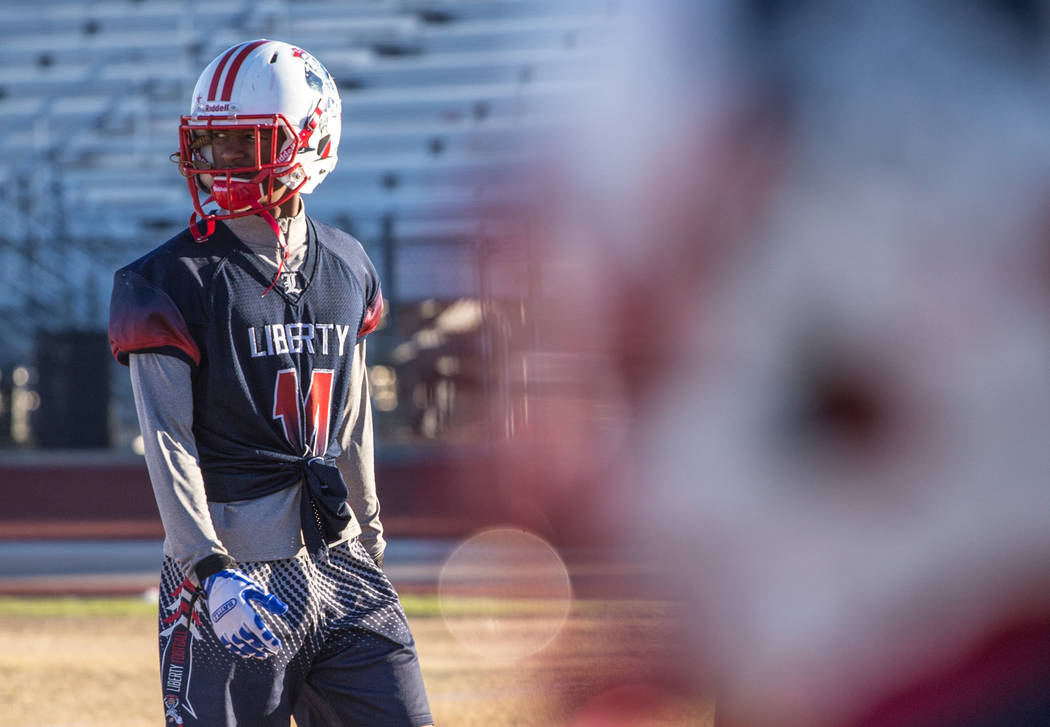 Liberty Patriots' Allan Mwata at a football practice at Liberty High School in Henderson, Thursday, Nov. 23, 2017. Joel Angel Juarez Las Vegas Review-Journal @jajuarezphoto