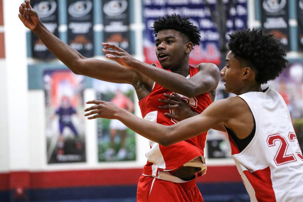 Coronado freshman Jaden Hardy, left, is guarded by teammate Issac Spears, right, during a basketball practice at Coronado High School in Henderson, Monday, Nov. 27, 2017. Joel Angel Juarez Las Veg ...