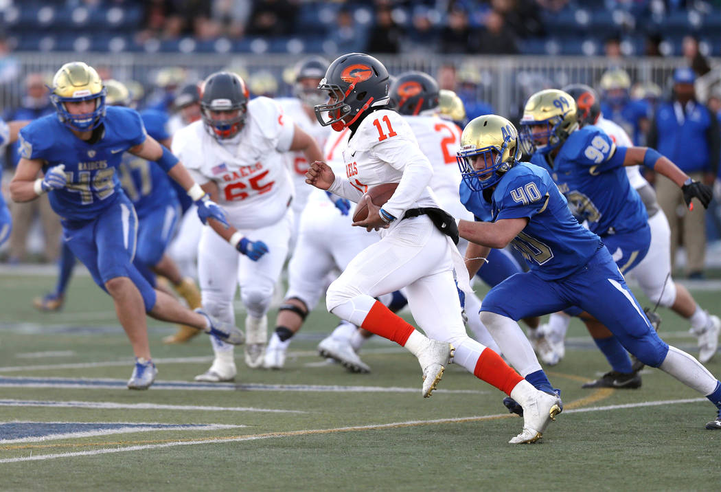 Bishop Gorman's Micah Bowens runs against Reed in the NIAA 4A state championship football game in Reno, Nev., on Saturday, Dec. 2, 2017. Gorman won the title 48-7. Cathleen Allison/Las Vega ...