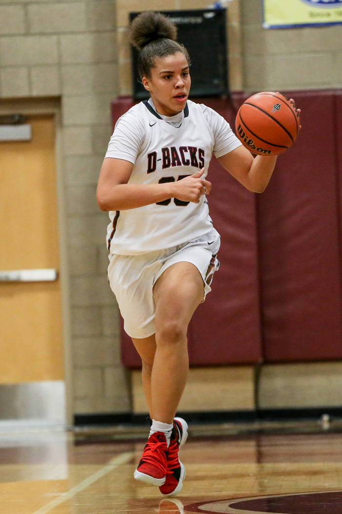 Desert Oasis' Dajaah Lightfoot (35) dribbles the ball during the third quarter of a basketball game against Foothill at Desert Oasis High School in Las Vegas, Monday, Dec. 4, 2017. Desert Oasis wo ...