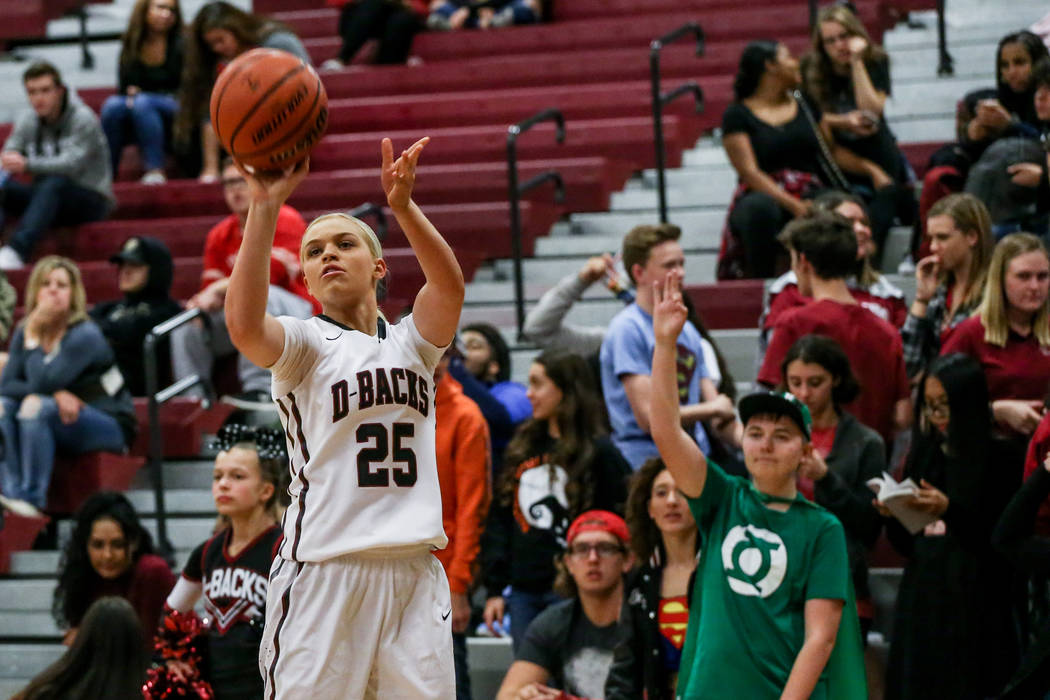 Desert Oasis' Melissa Simmons (25) shoots the ball during the fourth quarter of a basketball game against Foothill at Desert Oasis High School in Las Vegas, Monday, Dec. 4, 2017. Joel Angel Juarez ...