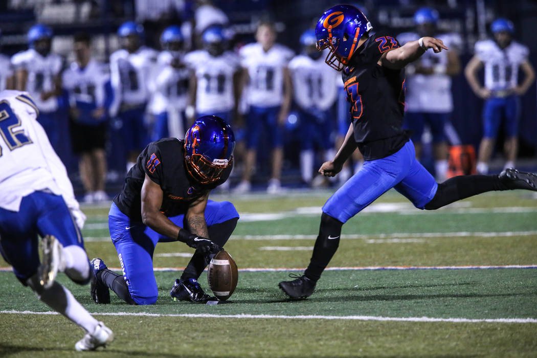 Bishop Gorman's Derek Ng (23) kicks a field goal against Sierra Vista during the second quarter of a football game at Bishop Gorman High School in Las Vegas, Thursday, Oct. 26, 2017. (Joel Angel J ...