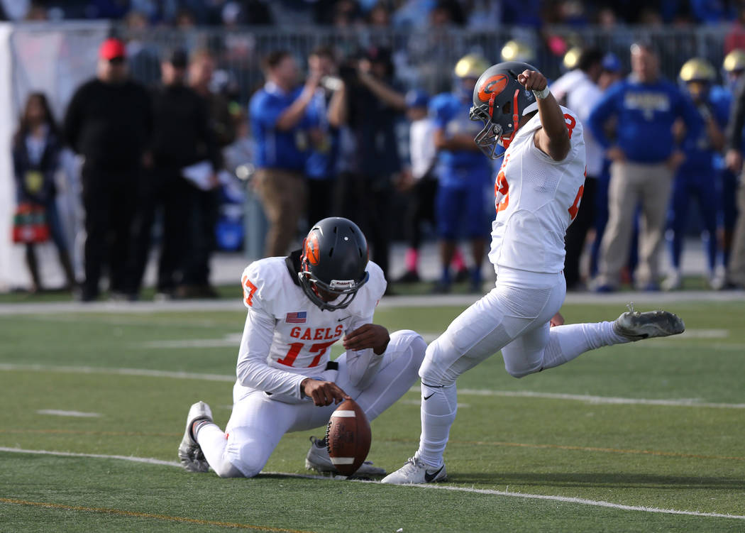 Bishop Gorman kicker Derek Ng competes in the NIAA 4A state championship football game in Reno on Saturday, Dec. 2, 2017. Cathleen Allison Las Vegas Review Journal @NVMomentum