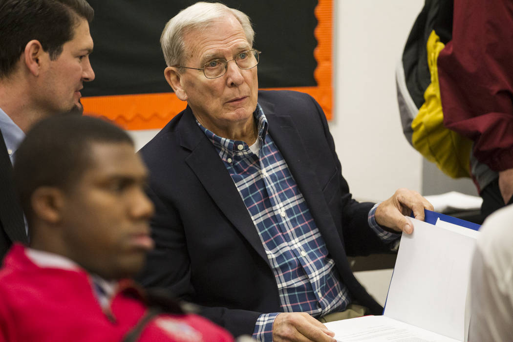David Bliss, Calvary Chapel boy's basketball coach and athletic director, during the Nevada Interscholastic Activities Association realignment committee meeting at Chaparral High School in Las Veg ...