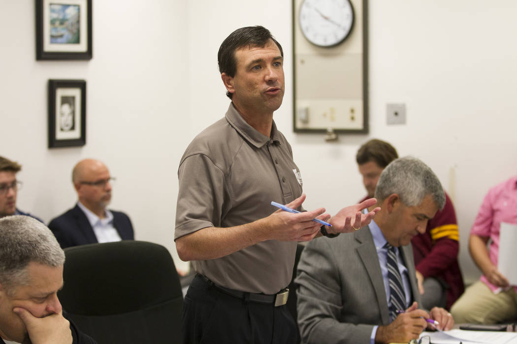 Donnie Nelson, assistant director for the Nevada Interscholastic Activities Association, during a NIAA realignment committee meeting at Chaparral High School in Las Vegas, Thursday, Dec. 7, 2017.  ...