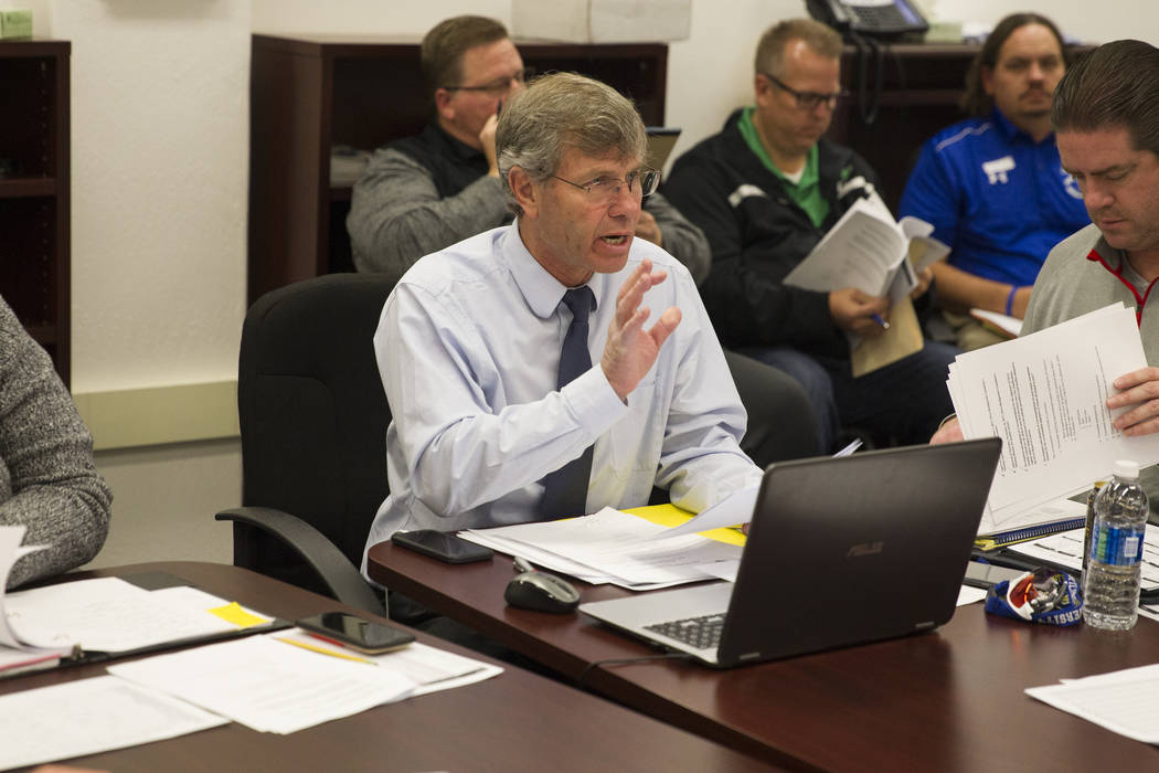 Bart Thompson, executive director for the Nevada Interscholastic Activities Association, during a NIAA realignment committee meeting at Chaparral High School in Las Vegas, Thursday, Dec. 7, 2017.  ...