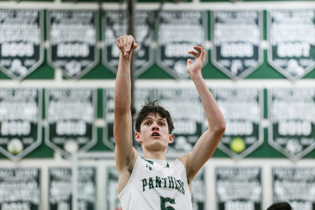 Palo Verde's Tieman Allen (5) shoots a free-throw during the fourth quarter of a basketball game against Cimarron-Memorial at Palo Verde High School in Las Vegas, Thursday, Dec. 7, 2017. Ci ...