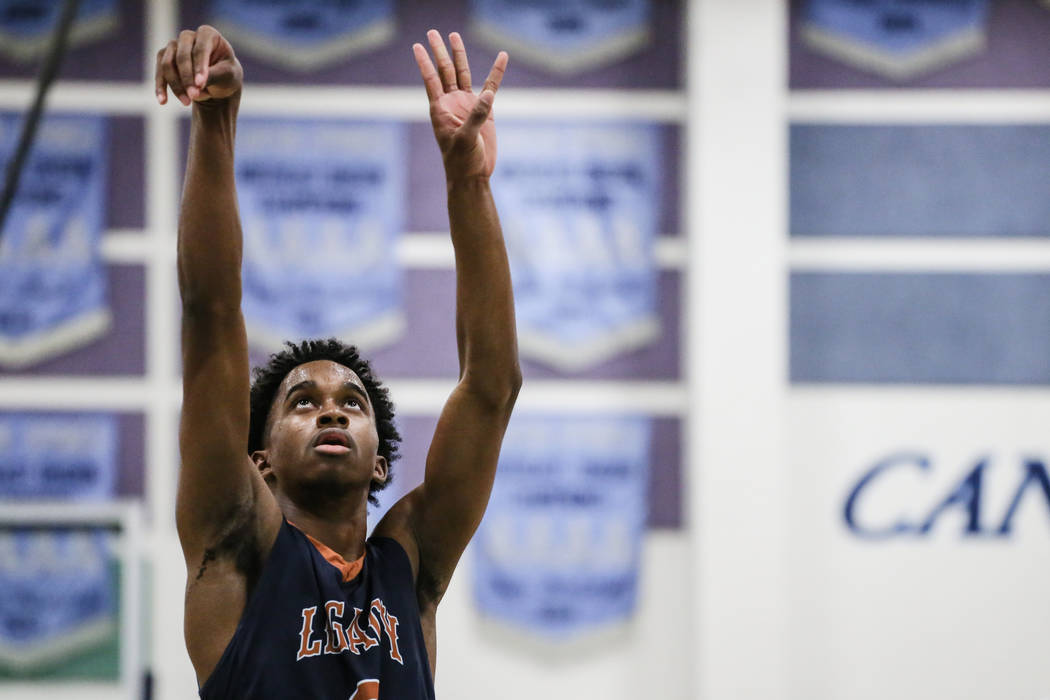 Legacyճ Cristian Pitts (3) shoots a free-throw during the third quarter of a basketball game against Canyon Springs at Canyon Springs High School in North Las Vegas, Friday, Dec. 8, 2017. Ca ...