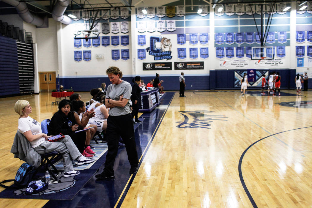 Centennial head coach Karen Weitz  paces during the third quarter of the Las Vegas Holiday Classic championship basketball game against Etiwanda at Centennial High School in Las Vegas, Friday, Dec ...
