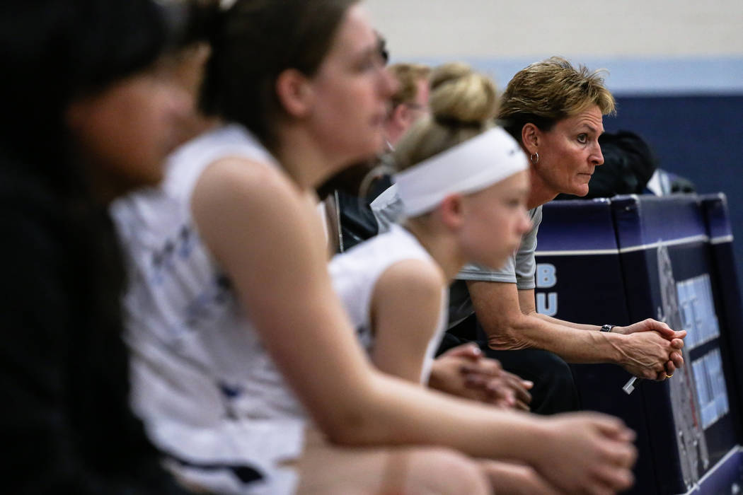 Centennial head coach Karen Weitz, right, watches the second quarter of the Las Vegas Holiday Classic championship basketball game against Etiwanda at Centennial High School in Las Vegas, Friday,  ...