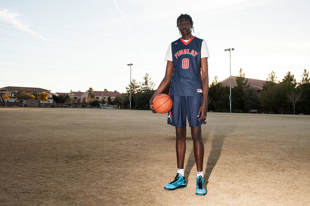 Findlay Prep's Bol Bol poses for a portrait at Horizon Crest Park in Henderson, Wednesday, Dec. 27, 2017. Joel Angel Juarez Las Vegas Review-Journal @jajuarezphoto
