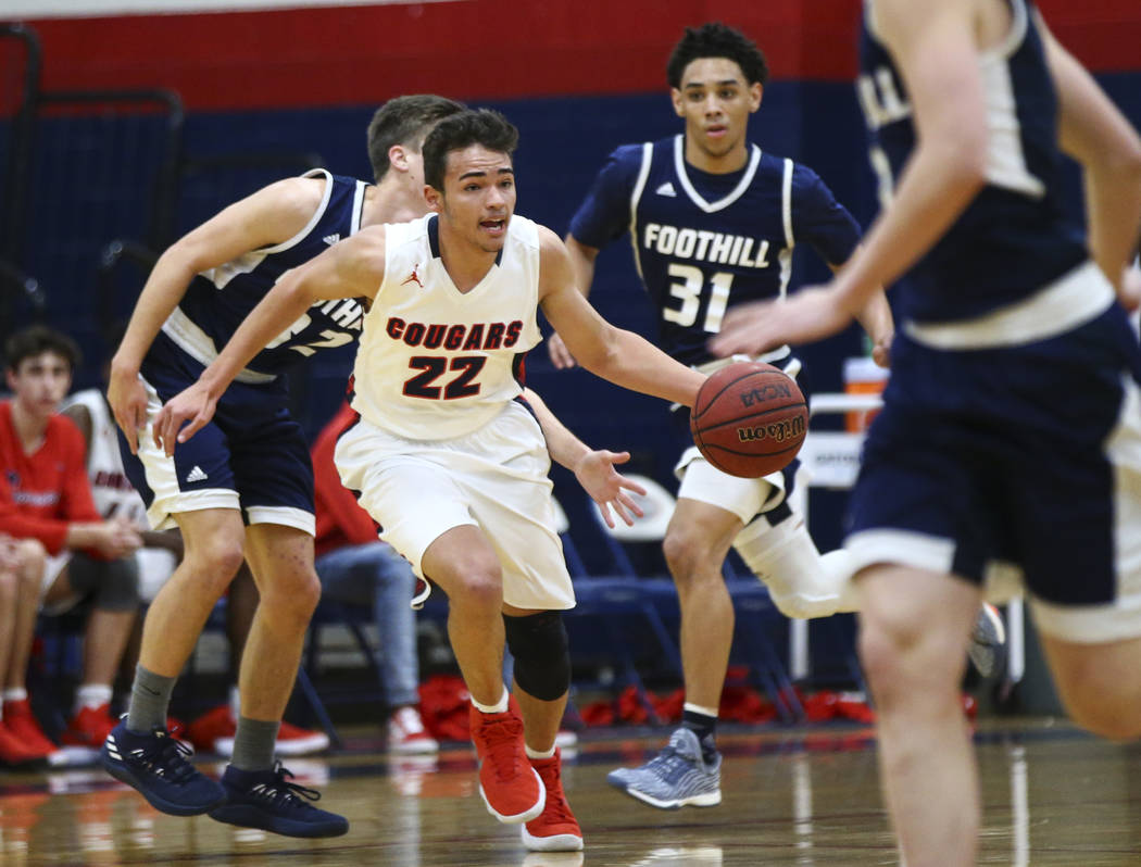 Coronado's Patrick Simms (22) drives the ball against Foothill during a basketball game at Coronado High School in Henderson on Friday, Jan. 19, 2018. Chase Stevens Las Vegas Review-Journal @csste ...
