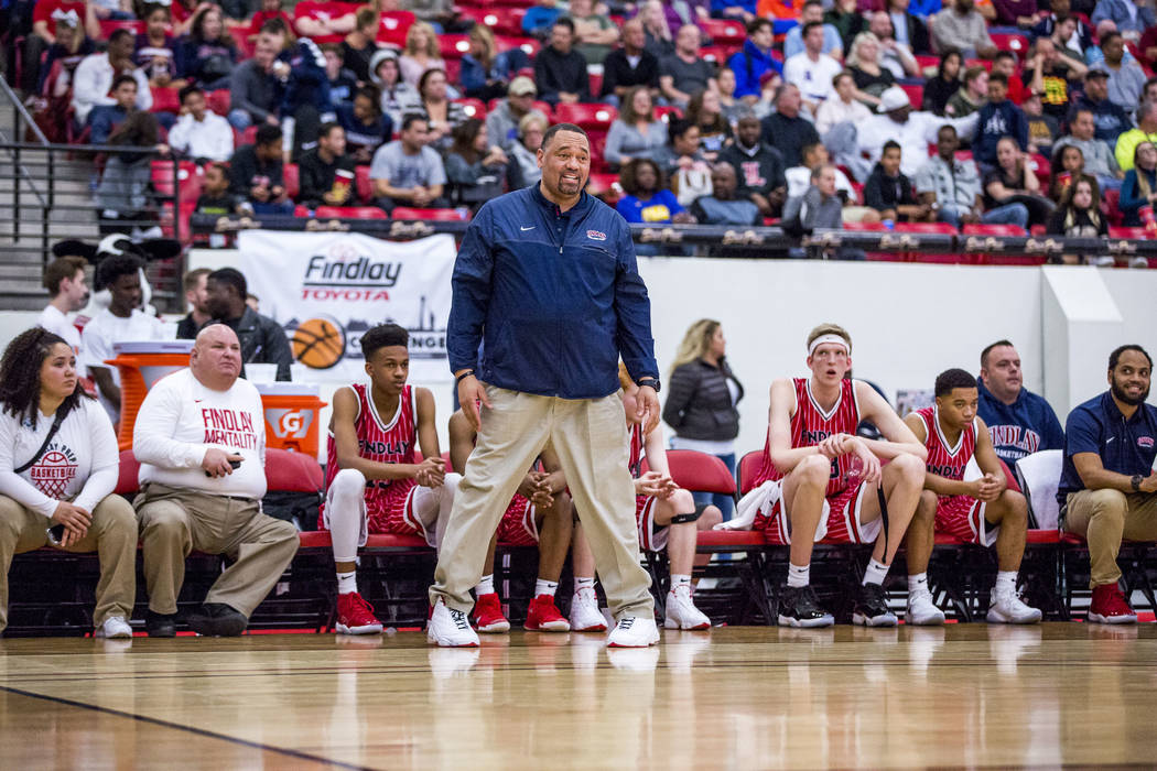 Findlay Prep coach Paul Washington during the Big City Showdown at South Point in Las Vegas on Saturday, Jan. 20, 2018. Findlay Prep won 75-68.  Patrick Connolly Las Vegas Review-Journal @PConnPie