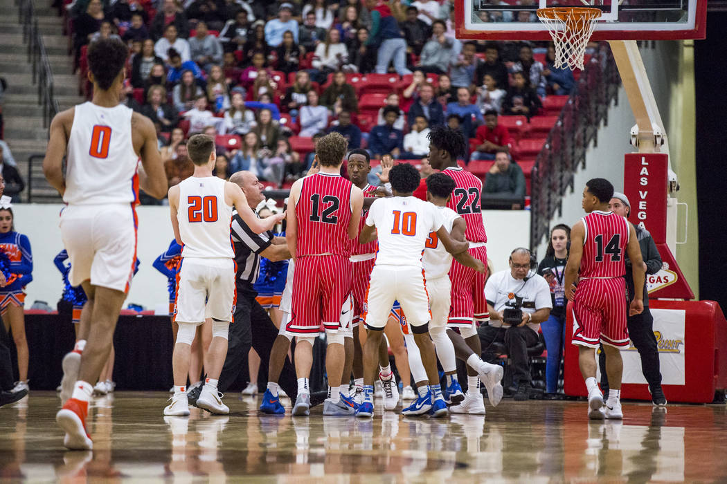 A heated moment between Findlay Prep and Bishop Gorman players following a play during the Big City Showdown at South Point in Las Vegas on Saturday, Jan. 20, 2018. Findlay Prep won 75-68.  Patric ...