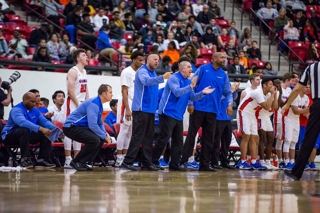 Bishop Gorman coaches react to a play during the Big City Showdown at South Point in Las Vegas on Saturday, Jan. 20, 2018. Findlay Prep won 75-68.  Patrick Connolly Las Vegas Review-Journal @PConnPie