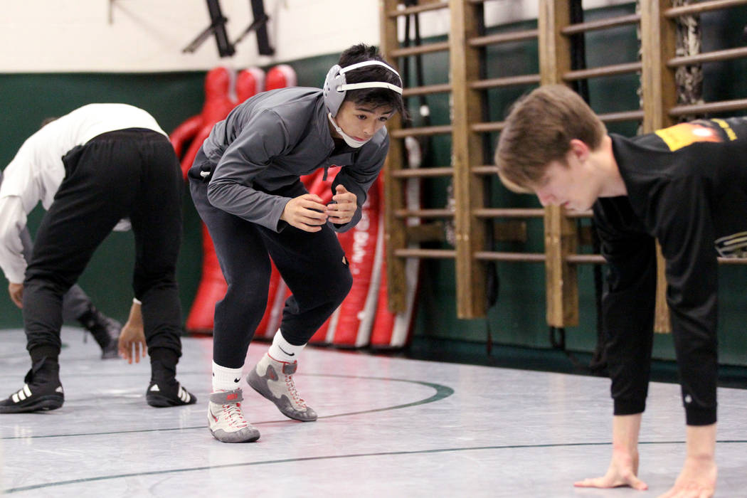 Green Valley High School junior wrestler Steele Dias warms up during practice at the school in Henderson Monday, Jan. 24, 2018. Dias is one of the best 113-pounders in the country. K.M. Cannon Las ...