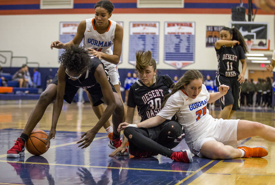 Desert Oasis' Desi-Rae Young attempts to recover the ball on a rebound against Bishop Gorman at Bishop Gorman High School on Friday, Jan. 12, 2018. Desert Oasis won 69-61. Patrick Connolly Las Veg ...