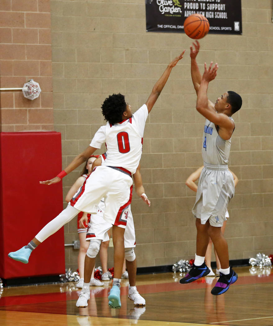 Canyon Springs' Kevin Legardy (4) shoots against Arbor View during a basketball game at Arbor View High School in Las Vegas, Monday, Jan. 22, 2018. Legardy is a high-scoring guard and a future Div ...