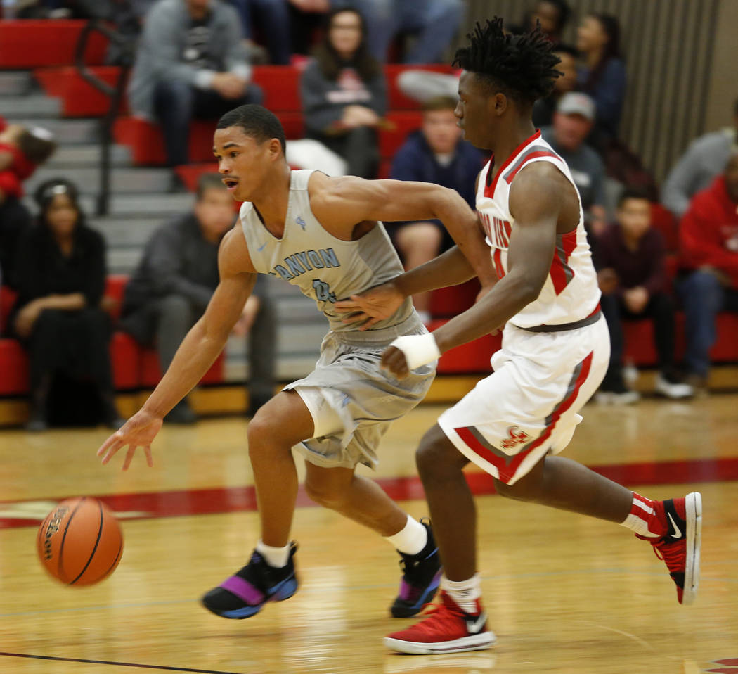 Canyon Springs' Kevin Legardy (4) runs for the ball during a basketball game at Arbor View High School in Las Vegas, Monday, Jan. 22, 2018. Legardy is a high-scoring guard and a future Division-I  ...