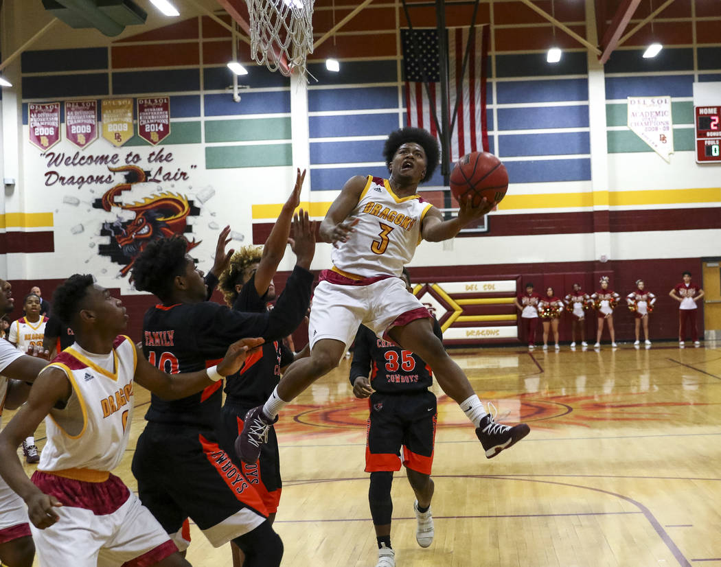 Del Sol point guard Antonio Simpson (3) goes up for a shot against Chaparral during a varsity basketball game at Del Sol High School in Las Vegas, Friday, Jan. 26, 2018. Richard Brian Las Vegas Re ...
