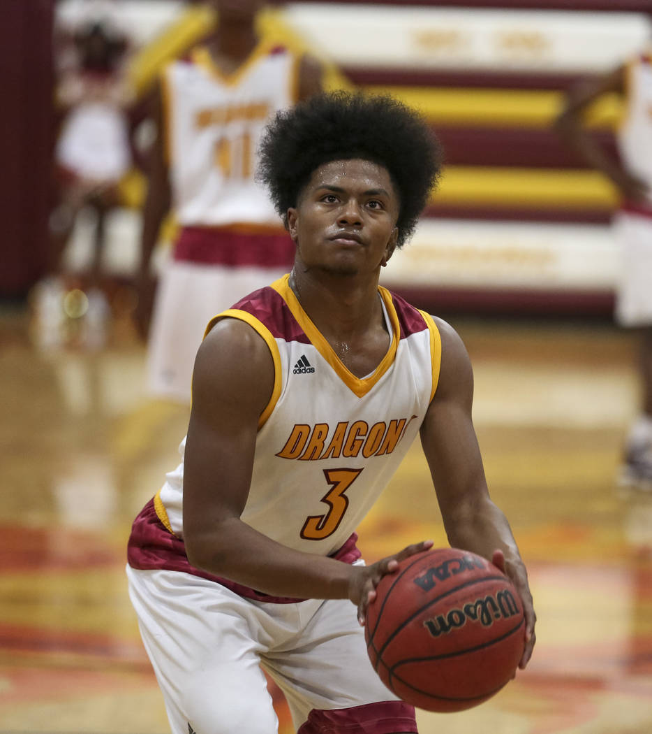 Del Sol point guard Antonio Simpson (3) shoots a free throw against Chaparral during a varsity basketball game at Del Sol High School in Las Vegas, Friday, Jan. 26, 2018. Richard Brian Las Vegas R ...