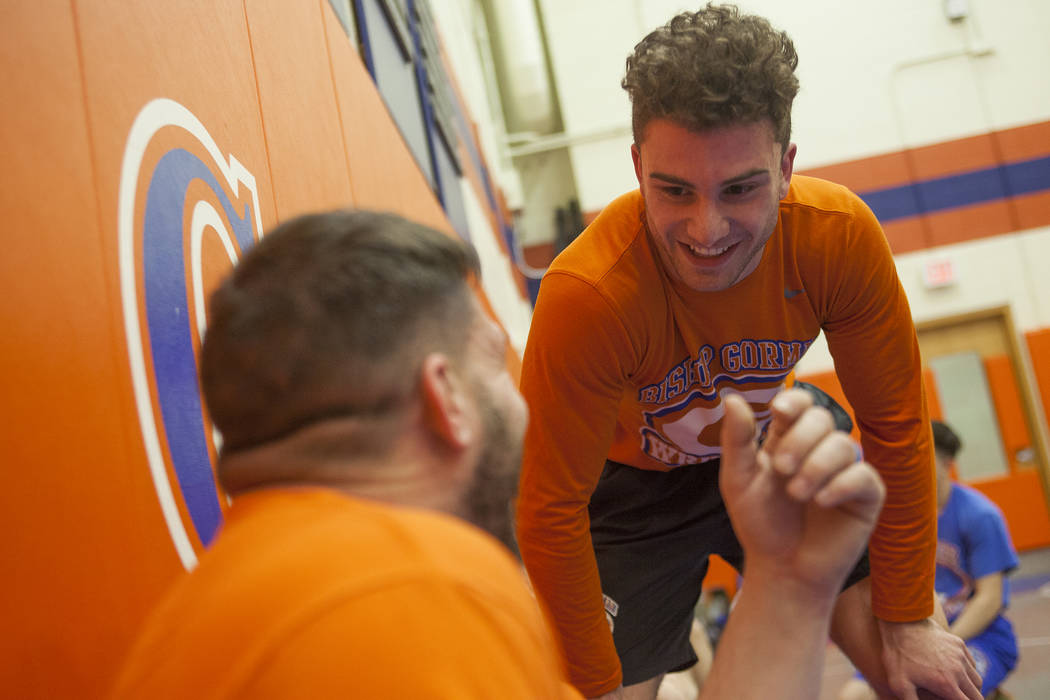 Joey Mazzara talks to Coach Todd Pace during wrestling practice at Bishop Gorman High School in Las Vegas, Wednesday, Jan. 31, 2018. Rachel Aston Las Vegas Review-Journal @rookie__rae