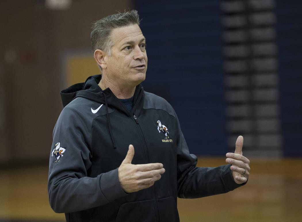Head Coach John Balistere during a basketball team practice at Boulder City High School in Boulder City, Tuesday, Jan. 2, 2018. Erik Verduzco/Las Vegas Review-Journal