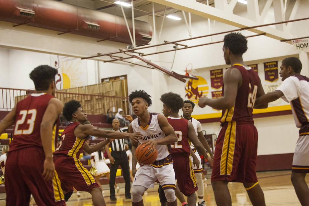 Eldorado's Patrick Parkes Jr. (1) looks for an opening to shoot the ball in a game against Del Sol High School in Las Vegas, Wednesday, Jan. 3, 2018 at Eldorado High School. Rachel Aston Las Vegas ...