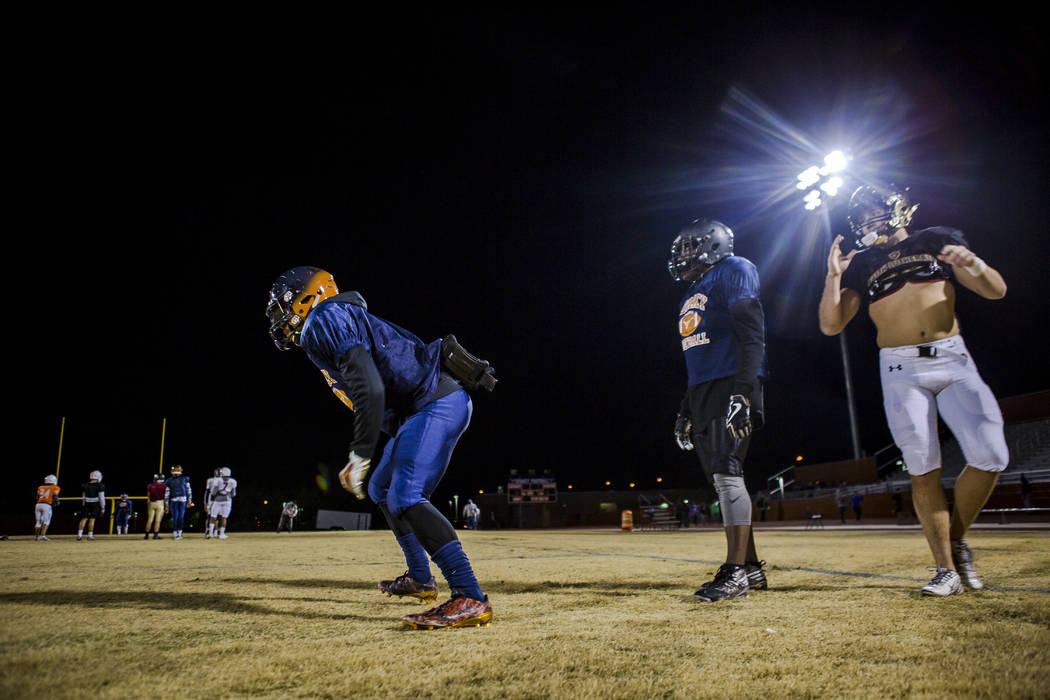 Legacy running back Aubrey Washington, left, practices for the all-star game at Legacy High School on Wednesday, Jan. 10, 2018. Patrick Connolly Las Vegas Review-Journal @PConnPie