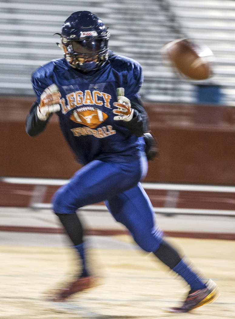 Legacy running back Aubrey Washington practices for the all-star game at Legacy High School on Wednesday, Jan. 10, 2018. Patrick Connolly Las Vegas Review-Journal @PConnPie