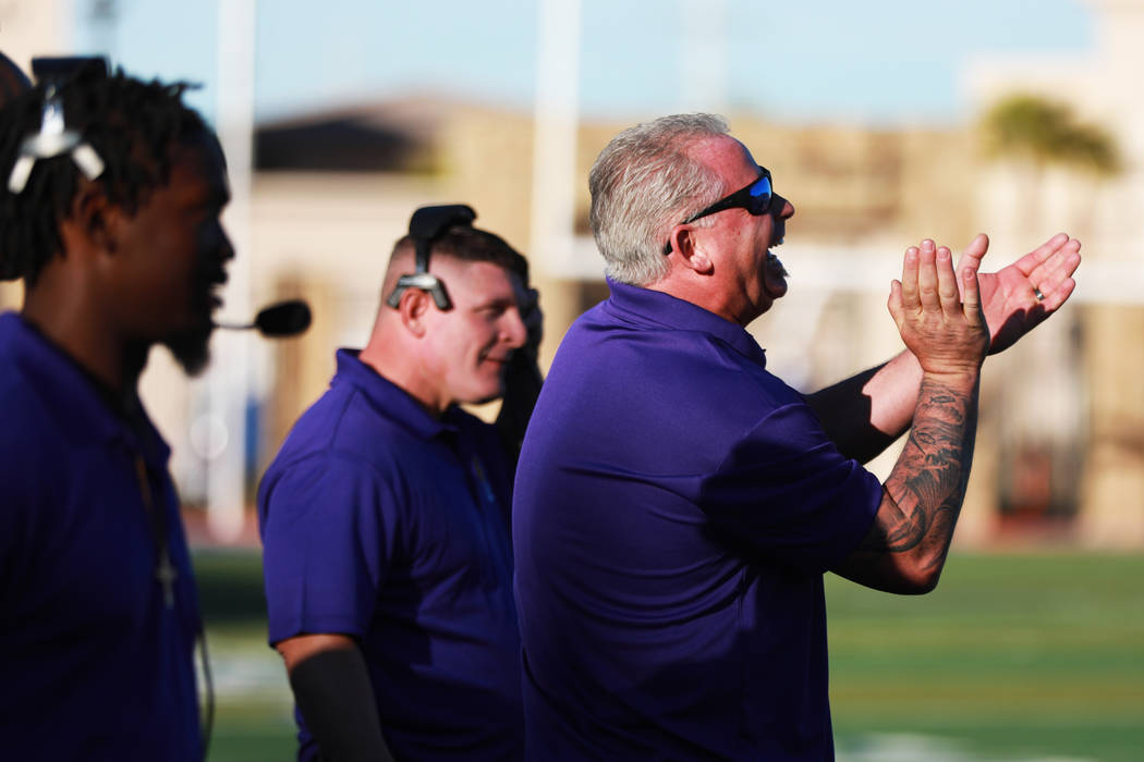 Outside linebacker coach Terry Tarver cheers after a play during the Lions All-Star football game at Bishop Gorman High School in Las Vegas, Jan. 13, 2018. Sunset beat Sunrise 21-6. Andrea Cornejo ...