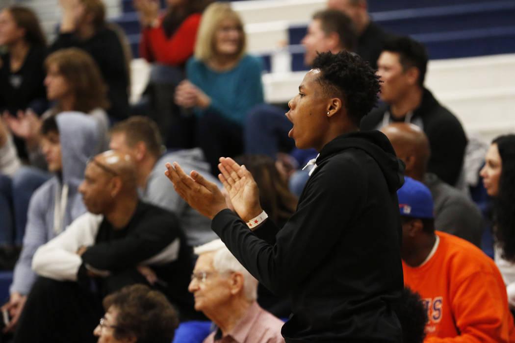 Fans root for Bishop Gorman in the boys basketball game against Sierra Canyon at Coronado High School in Las Vegas, Jan. 15, 2018. Bishop Gorman won 82-80. Andrea Cornejo Las Vegas Review-Journal  ...