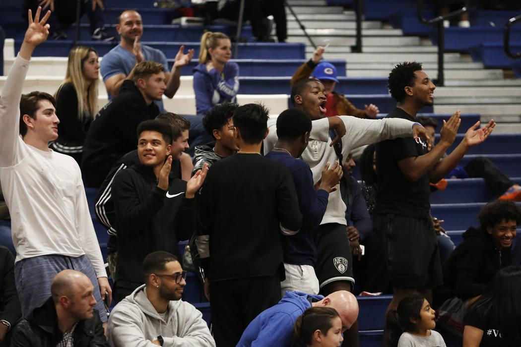 Fans root for Sierra Canyon in the boys basketball game against Bishop Gorman at Coronado High School in Las Vegas, Jan. 15, 2018. Bishop Gorman won 82-80. Andrea Cornejo Las Vegas Review-Journal  ...