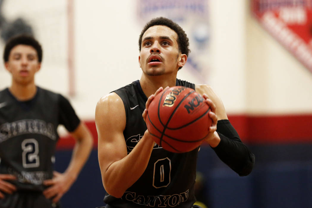 Sierra Canyon's Duane Washington Jr. shoots the ball in the boys basketball game against Bishop Gorman at Coronado High School in Las Vegas, Jan. 15, 2018. Bishop Gorman won 82-80. Andrea Cornejo  ...