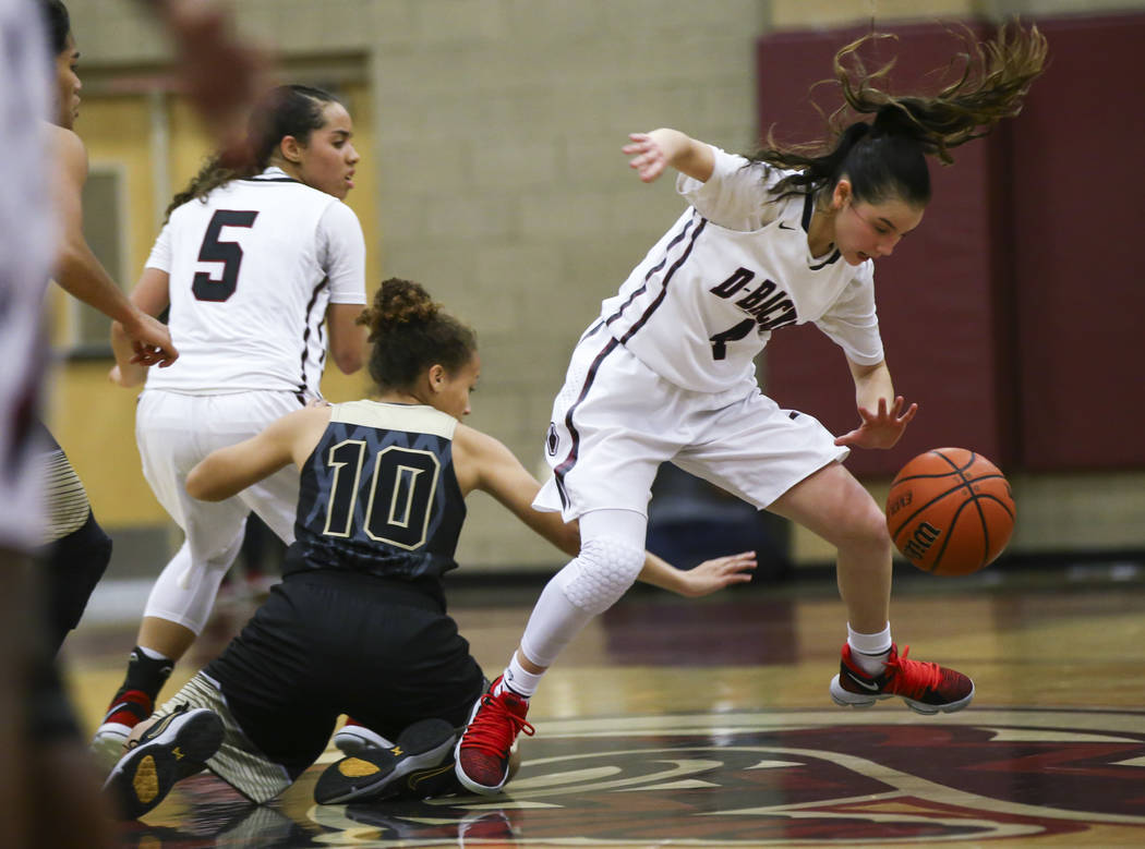 Desert Oasis' Brianna Clark (4) gets fouled by Spring Valley's Lalique Sharpe (10) during a basketball game at Desert Oasis High School in Las Vegas on Tuesday, Jan. 16, 2018. Chase Stevens Las Ve ...