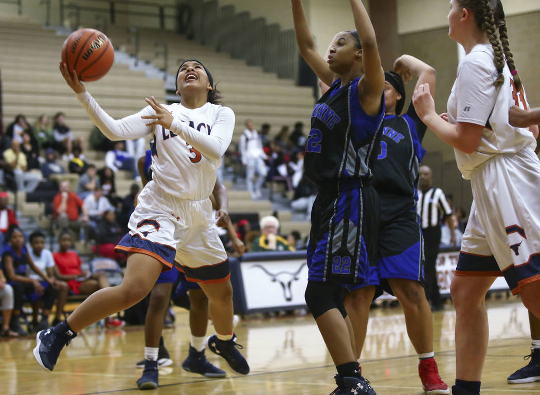 Legacy's Taeha Pankey (3) goes up to shoot against Cheyenne during a basketball game at Legacy High School in Las Vegas on Thursday, Feb. 1, 2018. Chase Stevens Las Vegas Review-Journal @csstevens ...