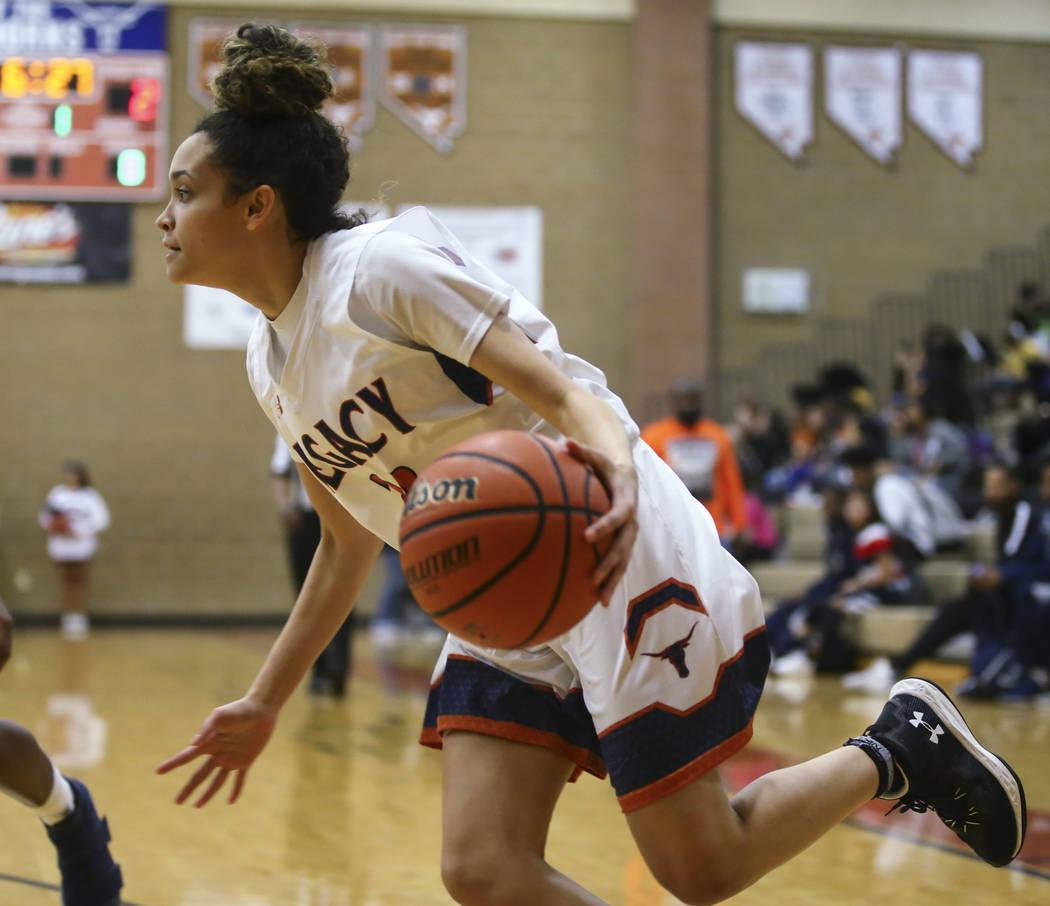 Legacy's Rory Carter (23) drives against Cheyenne during a basketball game at Legacy High School in Las Vegas on Thursday, Feb. 1, 2018. Chase Stevens Las Vegas Review-Journal @csstevensphoto
