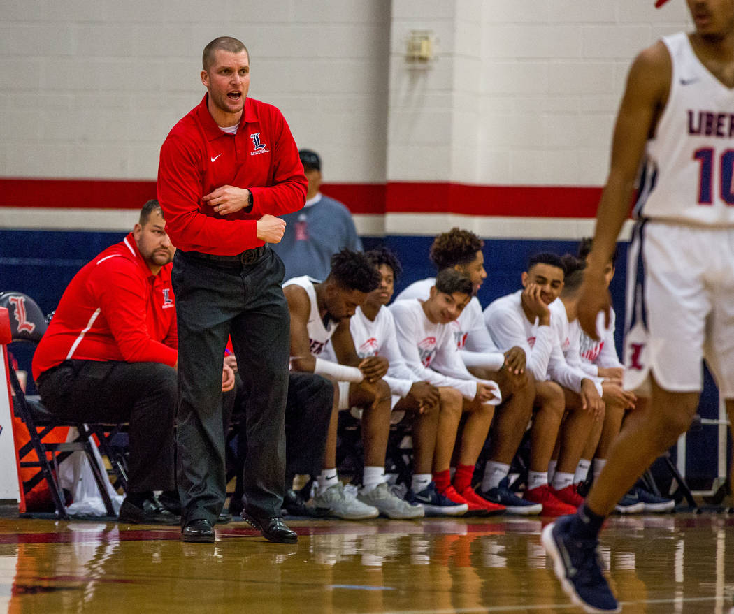 Liberty head coach Stefan Berg yells from the bench during a game against Foothill at Liberty High School in Henderson on Friday, Feb. 2, 2018. Foothill won 69-65.  Patrick Connolly Las Vegas Revi ...