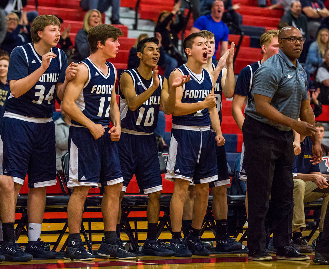 Foothill players cheer from the bench as their team makes progress in a close game against Liberty at Liberty High School in Henderson on Friday, Feb. 2, 2018. Foothill won 69-65.  Patrick Connoll ...