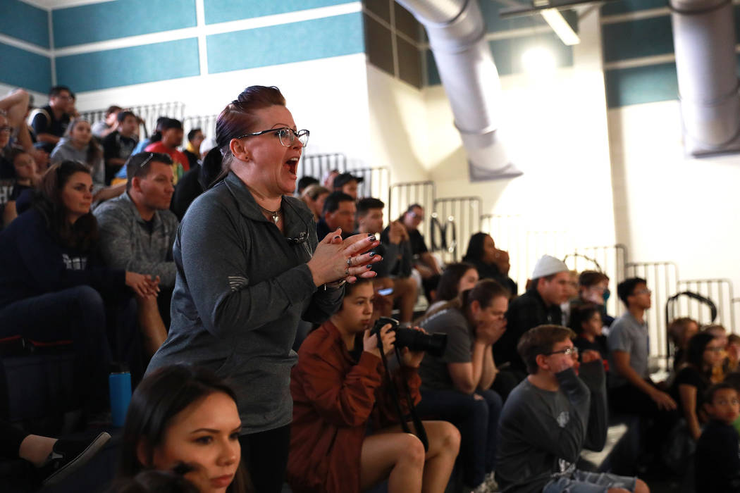 Crowds cheer on Saturday during the Sunset Region Wrestling Finals at Centennial High School in Las Vegas, Feb. 3, 2018.  Andrea Cornejo Las Vegas Review-Journal @DreaCornejo