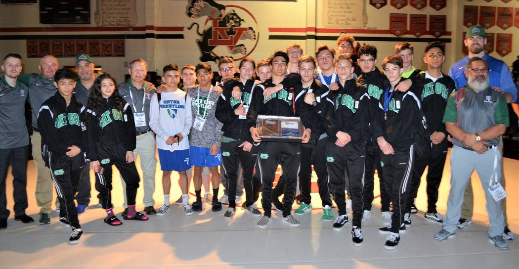 Green Valley captured its eighth consecutive Sunrise Region championship, after five Gators won their title matches on Saturday, Feb. 3, 2018 at Las Vegas High. (W.G. Ramirez/Las Vegas Review-Journal)