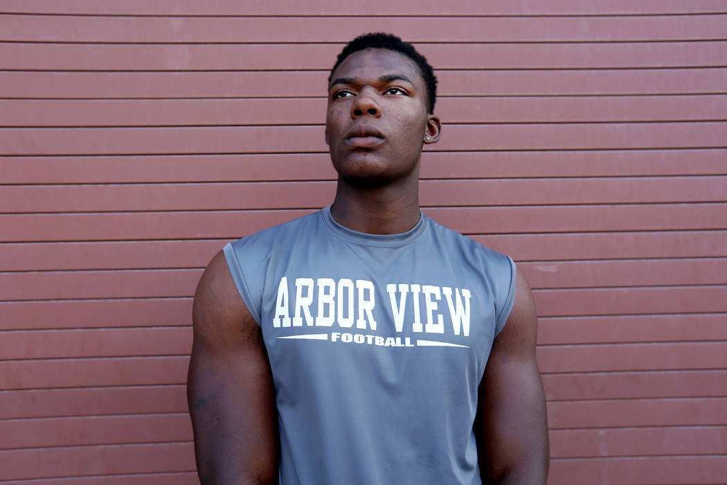 Arbor View's Elijah Wade, the best uncommitted football recruit in Nevada, at Arbor View high school in Las Vegas, Monday, Oct. 16, 2017. Elizabeth Brumley Las Vegas Review-Journal @EliPagePhoto